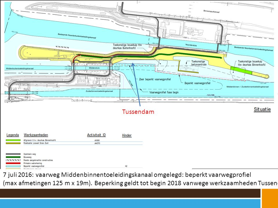 Tussendam 7 juli 2016: vaarweg Middenbinnentoeleidingskanaal omgelegd: beperkt vaarwegprofiel.