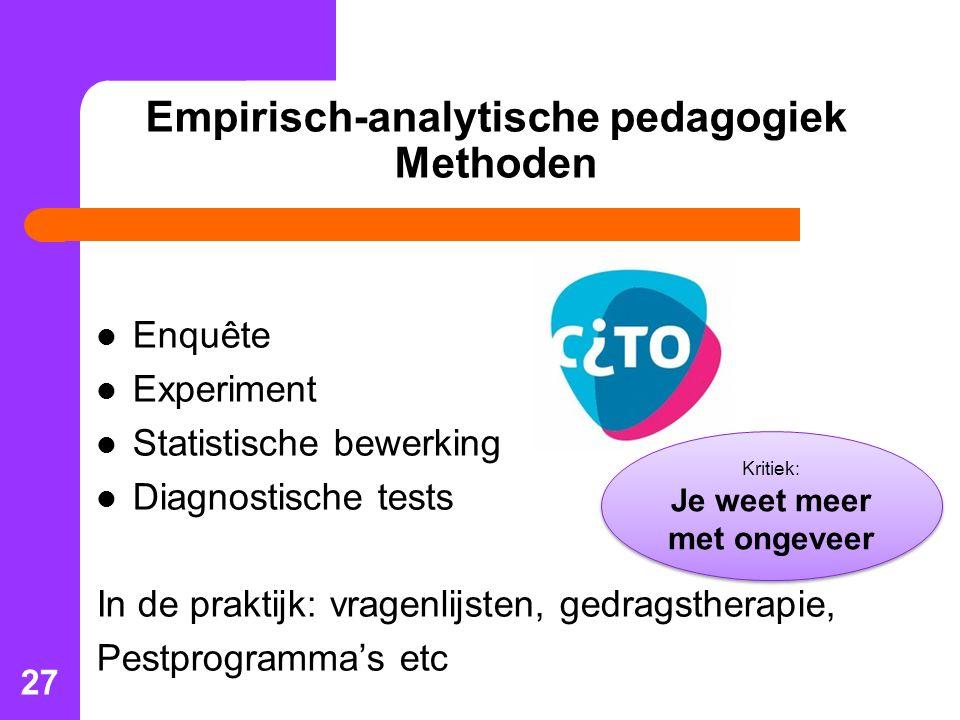 Empirisch-analytische pedagogiek Methoden
