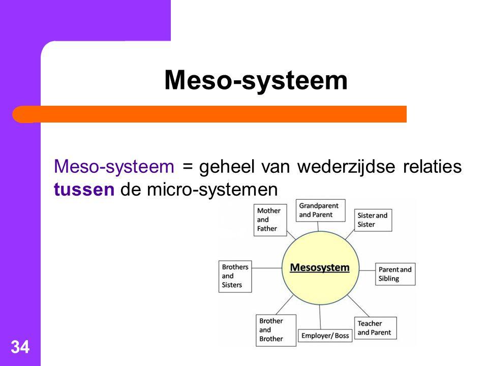 Meso-systeem Meso-systeem = geheel van wederzijdse relaties tussen de micro-systemen