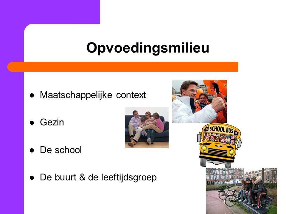 Opvoedingsmilieu Maatschappelijke context Gezin De school