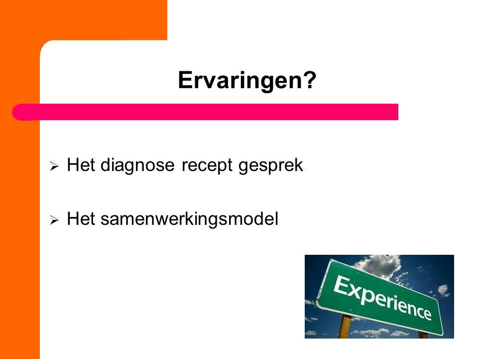 Ervaringen Het diagnose recept gesprek Het samenwerkingsmodel