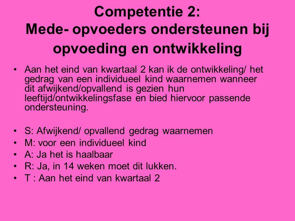 Competentie 2: Mede- opvoeders ondersteunen bij opvoeding en ontwikkeling