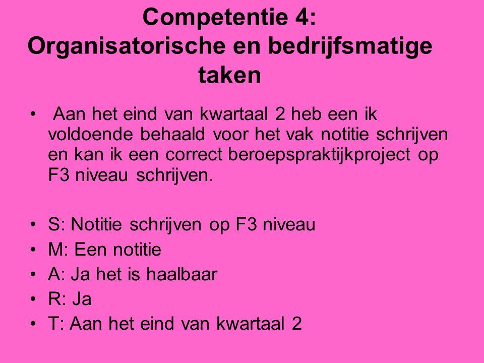 Competentie 4: Organisatorische en bedrijfsmatige taken