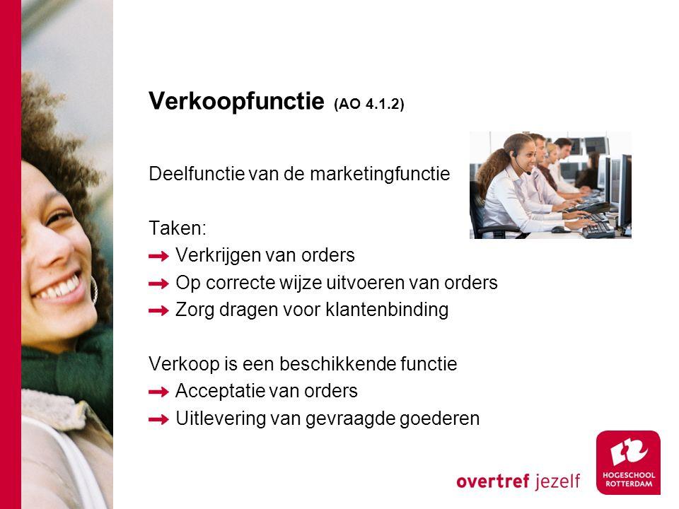 Verkoopfunctie (AO 4.1.2) Deelfunctie van de marketingfunctie Taken: