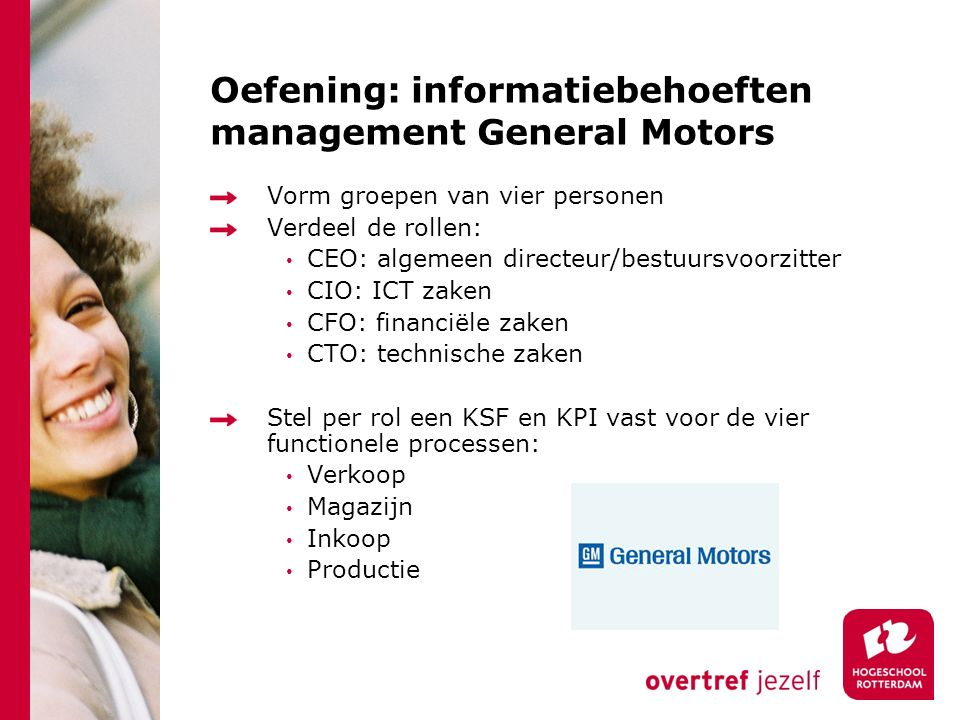 Oefening: informatiebehoeften management General Motors
