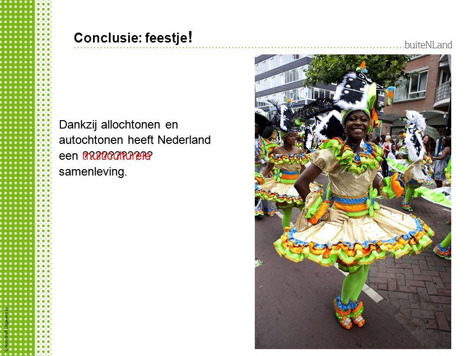 Conclusie: feestje! Dankzij allochtonen en autochtonen heeft Nederland een multiculturele samenleving.