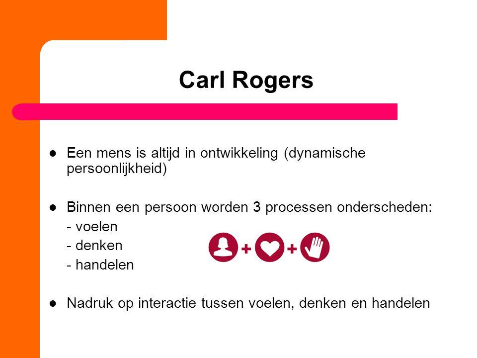 Carl Rogers Een mens is altijd in ontwikkeling (dynamische persoonlijkheid) Binnen een persoon worden 3 processen onderscheden: