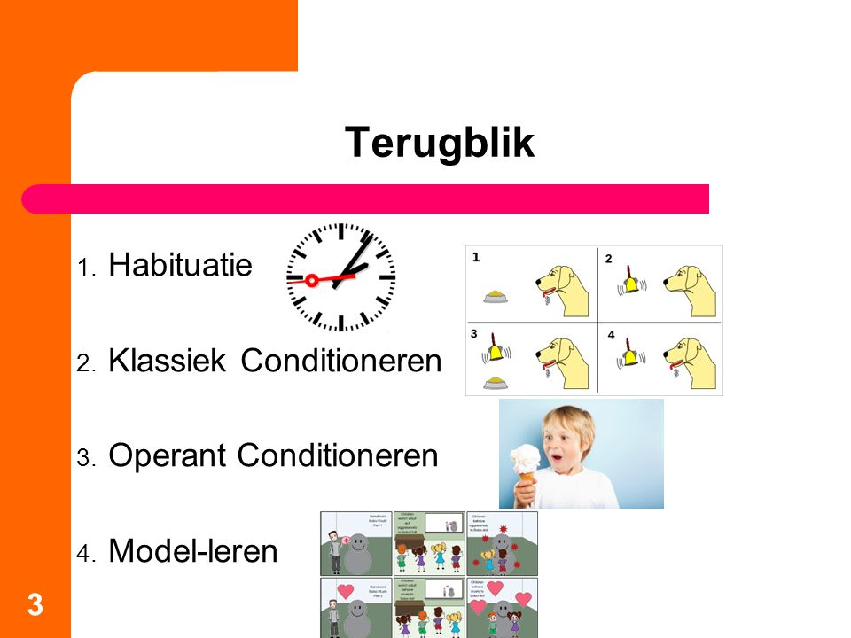 Terugblik Habituatie Klassiek Conditioneren Operant Conditioneren