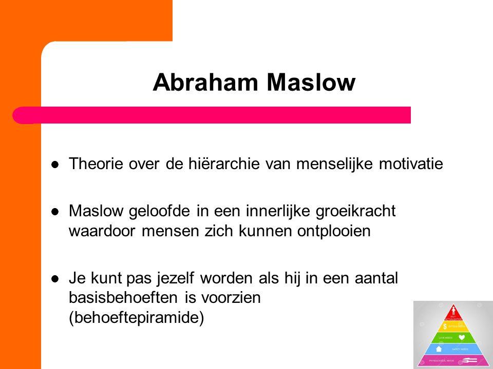Abraham Maslow Theorie over de hiërarchie van menselijke motivatie