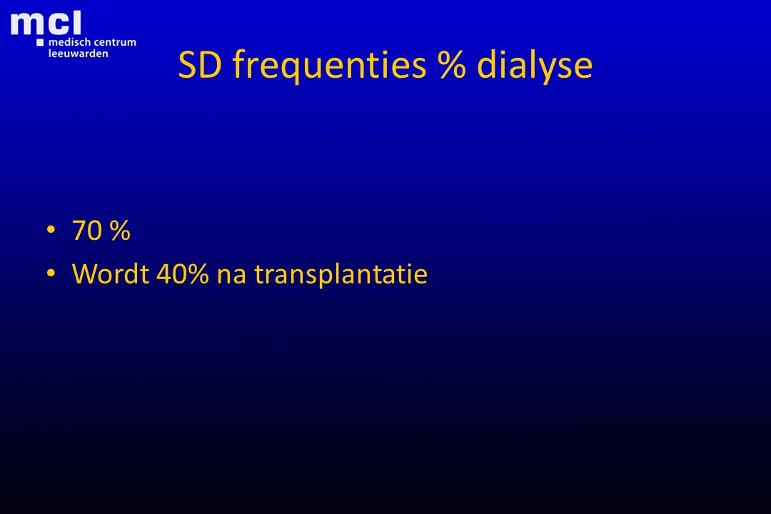 SD frequenties % dialyse