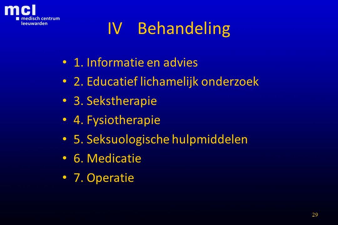 IV Behandeling 1. Informatie en advies