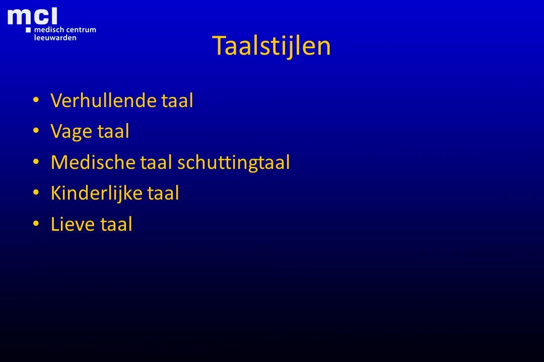 Taalstijlen Verhullende taal Vage taal Medische taal schuttingtaal