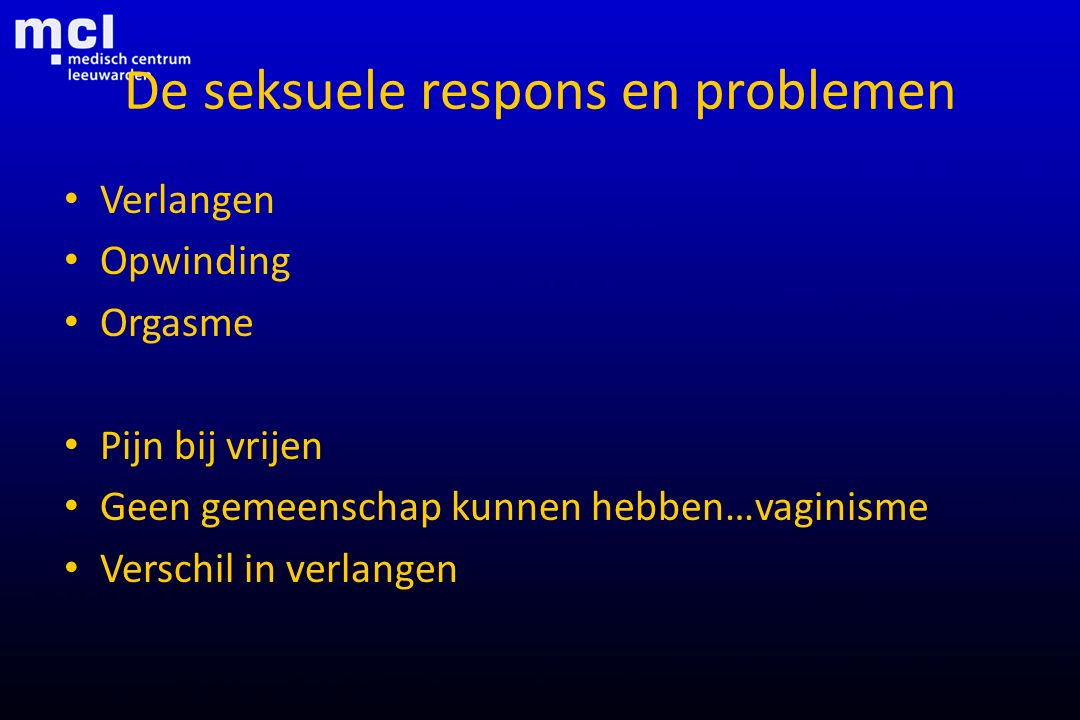 De seksuele respons en problemen