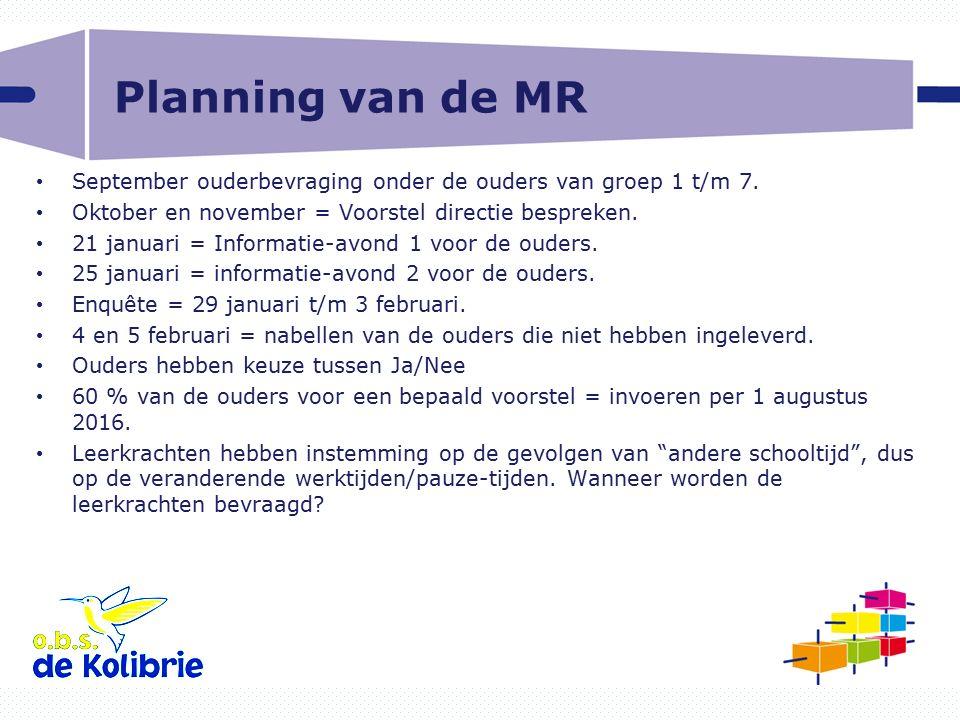 Planning van de MR September ouderbevraging onder de ouders van groep 1 t/m 7. Oktober en november = Voorstel directie bespreken.