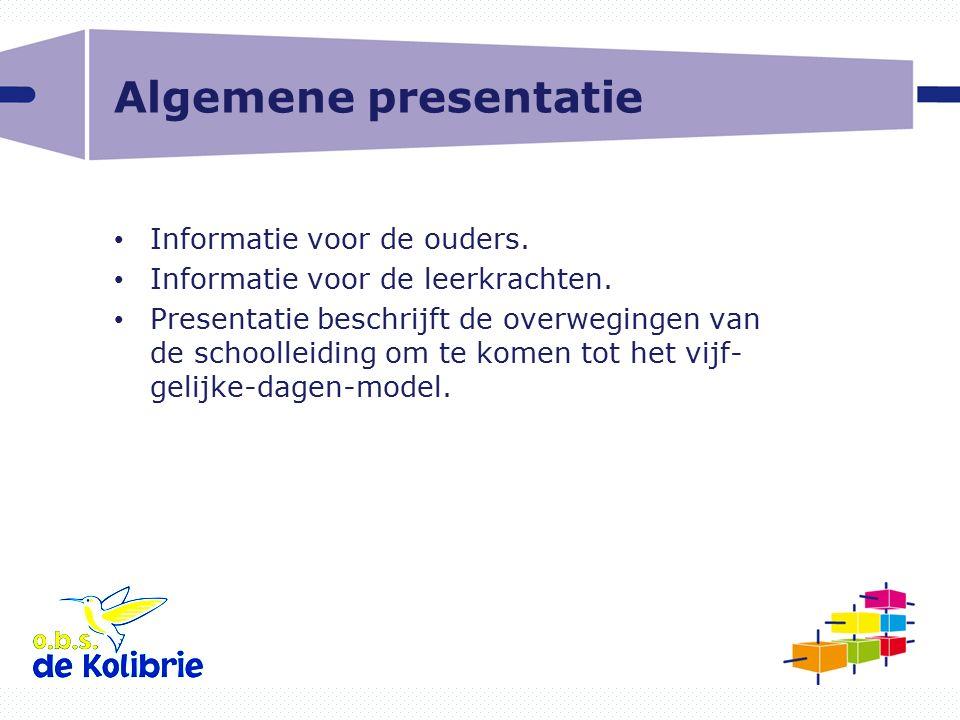 Algemene presentatie Informatie voor de ouders.