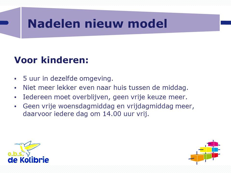 Nadelen nieuw model Voor kinderen: 5 uur in dezelfde omgeving.