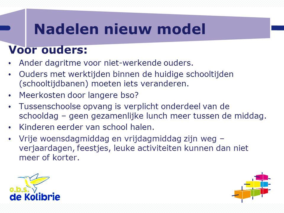 Nadelen nieuw model Voor ouders: