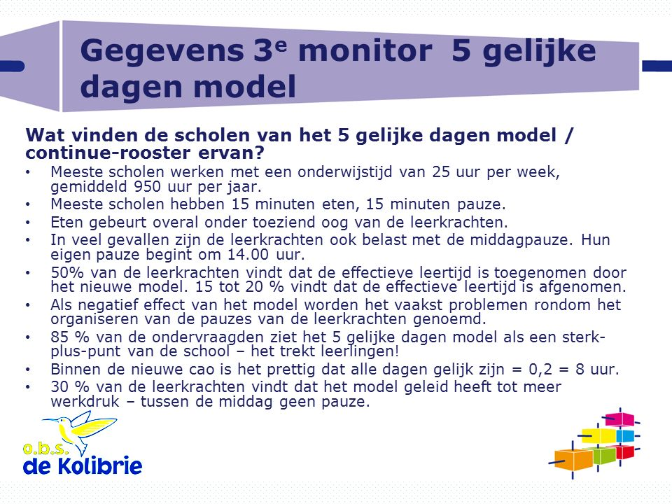 Gegevens 3e monitor 5 gelijke dagen model