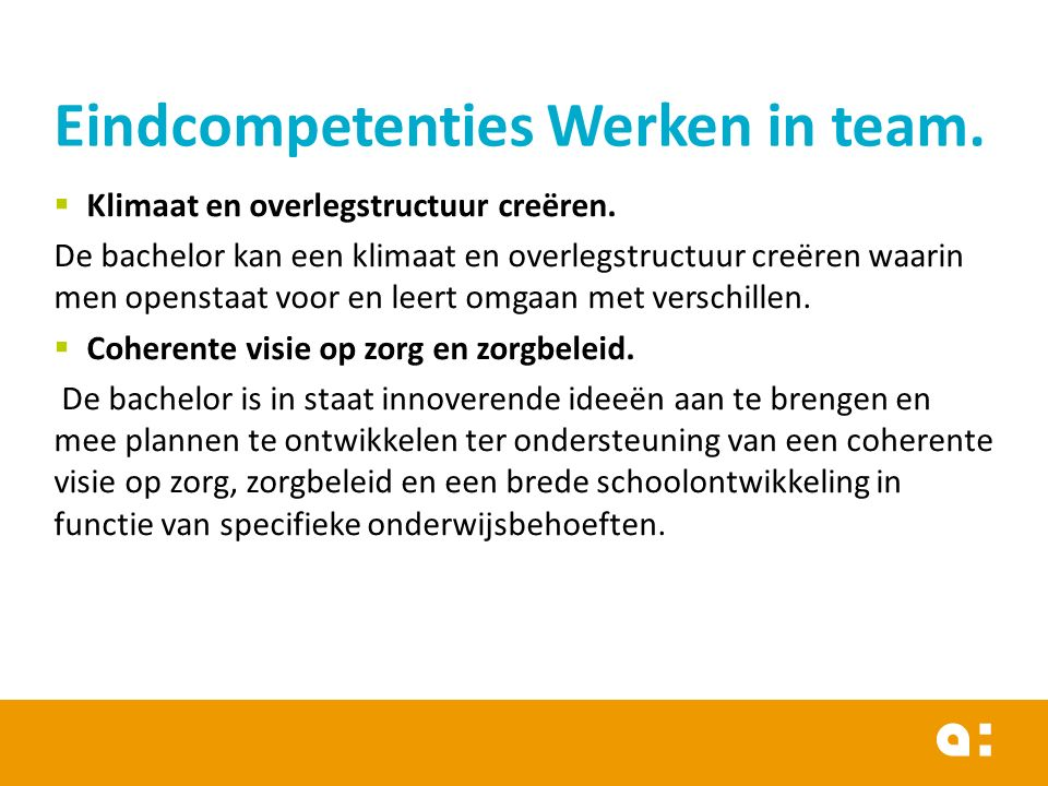 Eindcompetenties Werken in team.