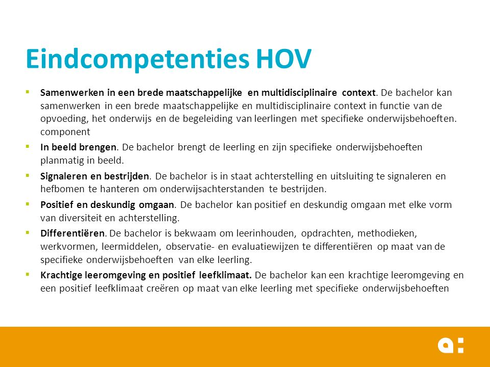 Eindcompetenties HOV