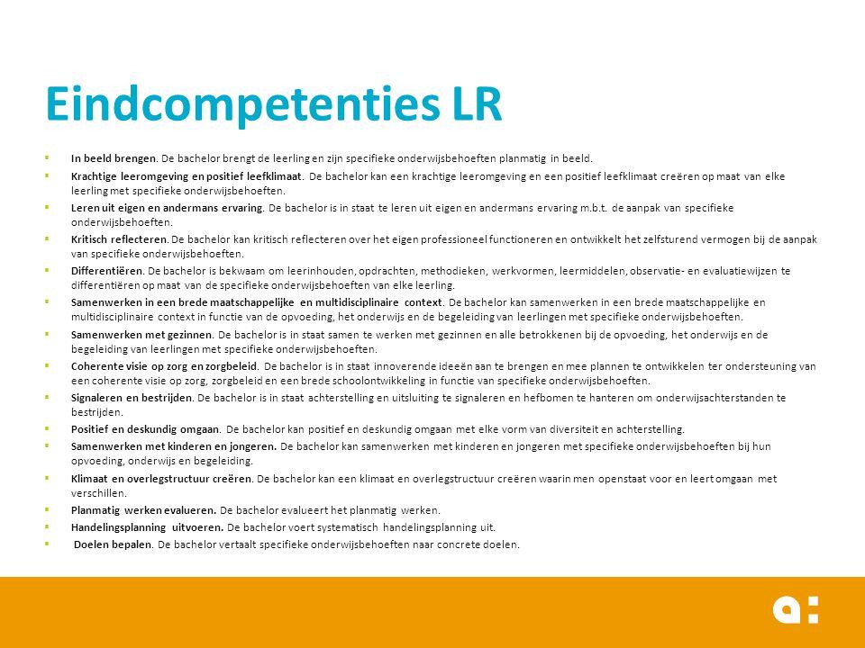 Eindcompetenties LR In beeld brengen. De bachelor brengt de leerling en zijn specifieke onderwijsbehoeften planmatig in beeld.