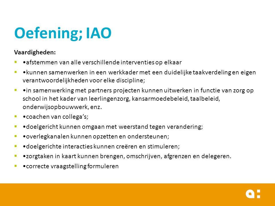 Oefening; IAO Vaardigheden: