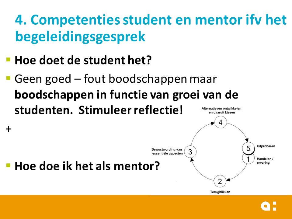 4. Competenties student en mentor ifv het begeleidingsgesprek