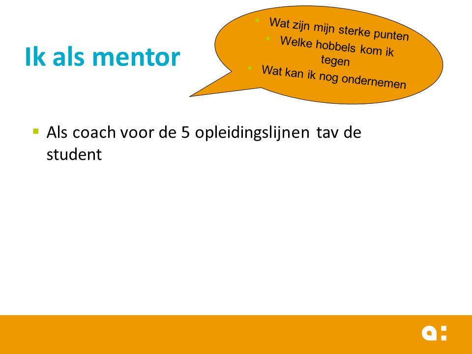 Ik als mentor Als coach voor de 5 opleidingslijnen tav de student