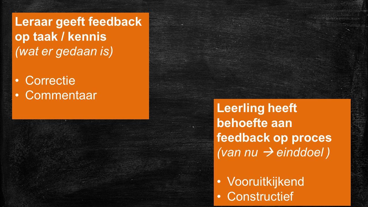 Leraar geeft feedback op taak / kennis (wat er gedaan is)