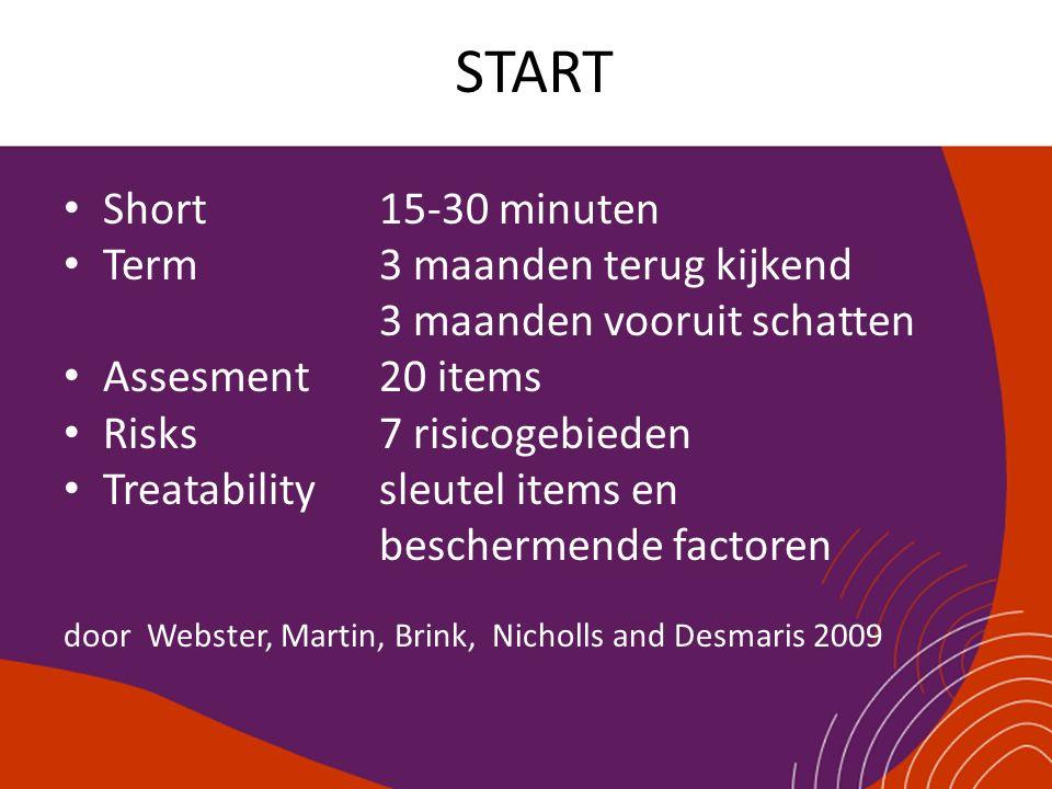START Short 15-30 minuten Term 3 maanden terug kijkend