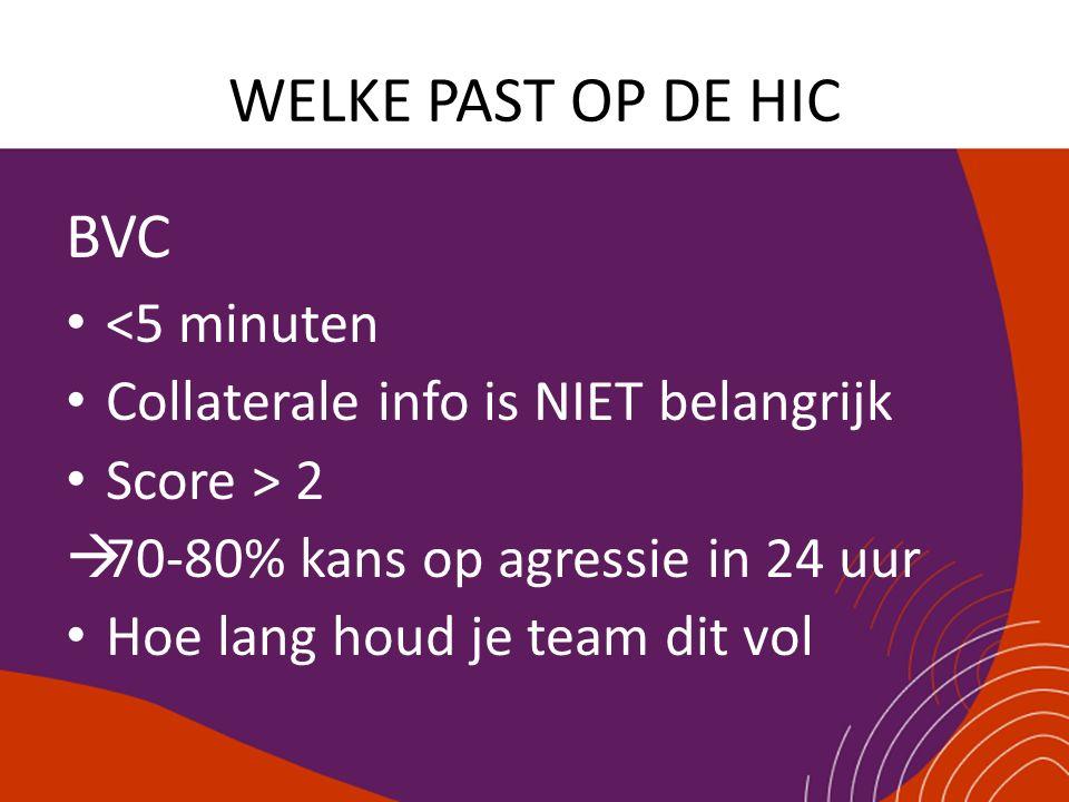 WELKE PAST OP DE HIC BVC <5 minuten