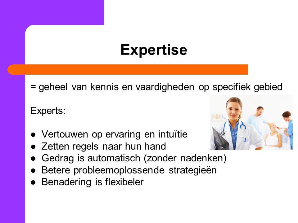 Expertise = geheel van kennis en vaardigheden op specifiek gebied
