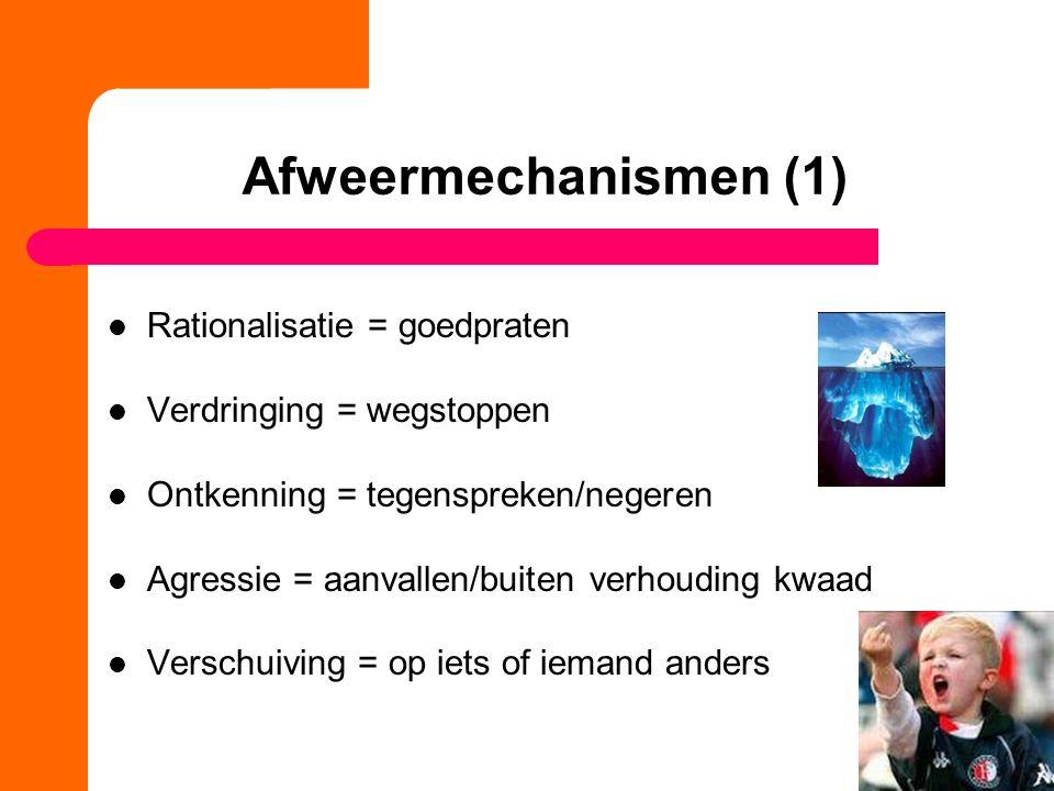 Afweermechanismen (1) Rationalisatie = goedpraten