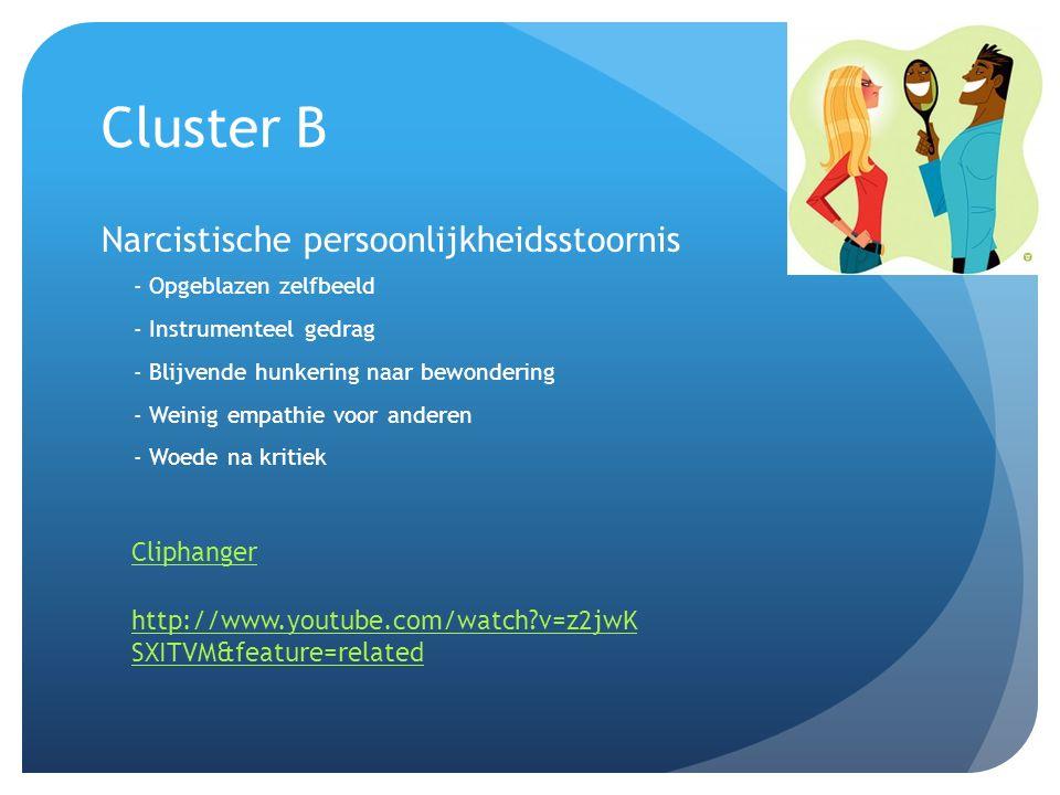 Cluster B Narcistische persoonlijkheidsstoornis Cliphanger