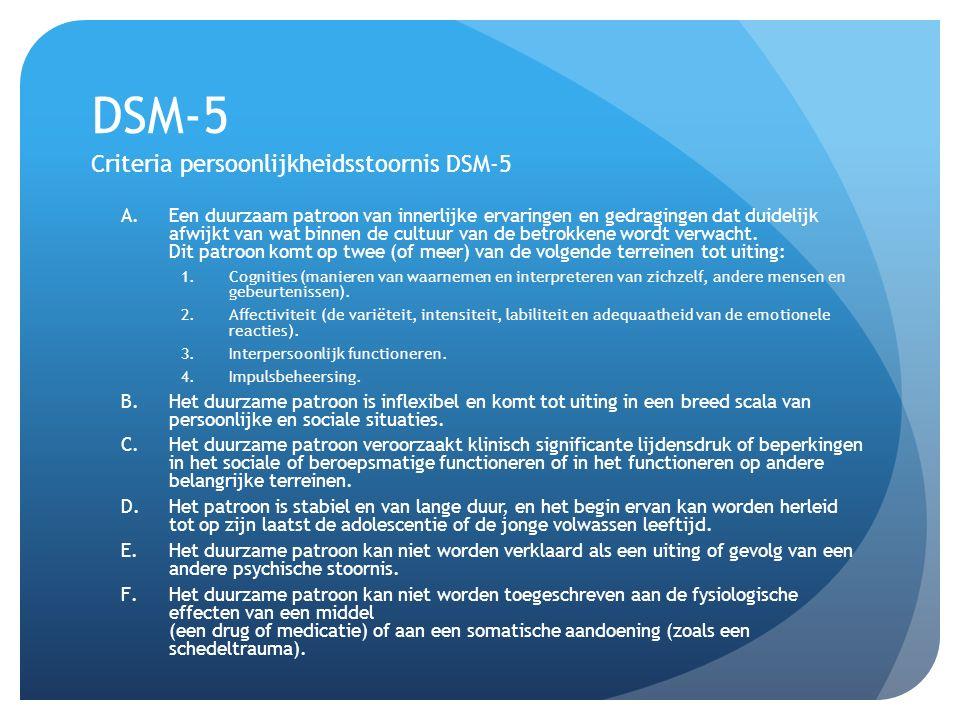DSM-5 Criteria persoonlijkheidsstoornis DSM-5