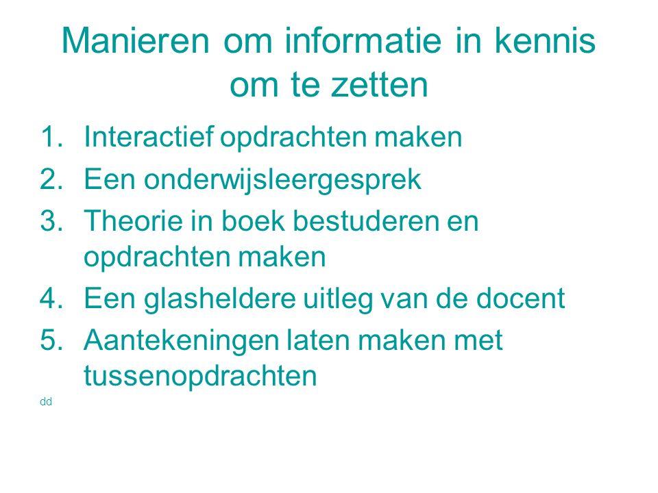 Manieren om informatie in kennis om te zetten
