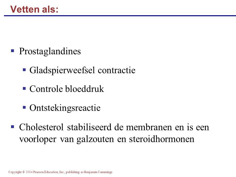 Vetten als: Prostaglandines. Gladspierweefsel contractie. Controle bloeddruk. Ontstekingsreactie.