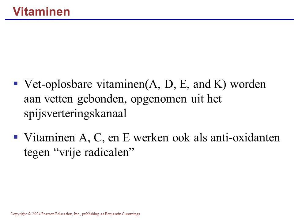 Vitaminen Vet-oplosbare vitaminen(A, D, E, and K) worden aan vetten gebonden, opgenomen uit het spijsverteringskanaal.