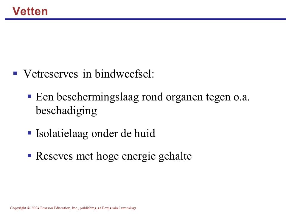 Vetreserves in bindweefsel: