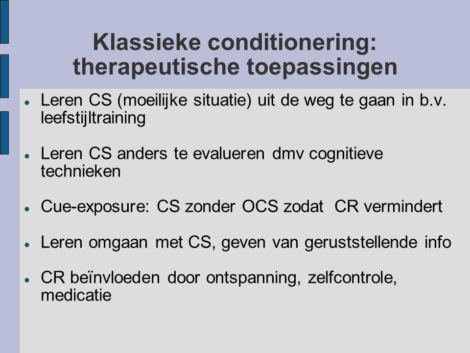 Klassieke conditionering: therapeutische toepassingen