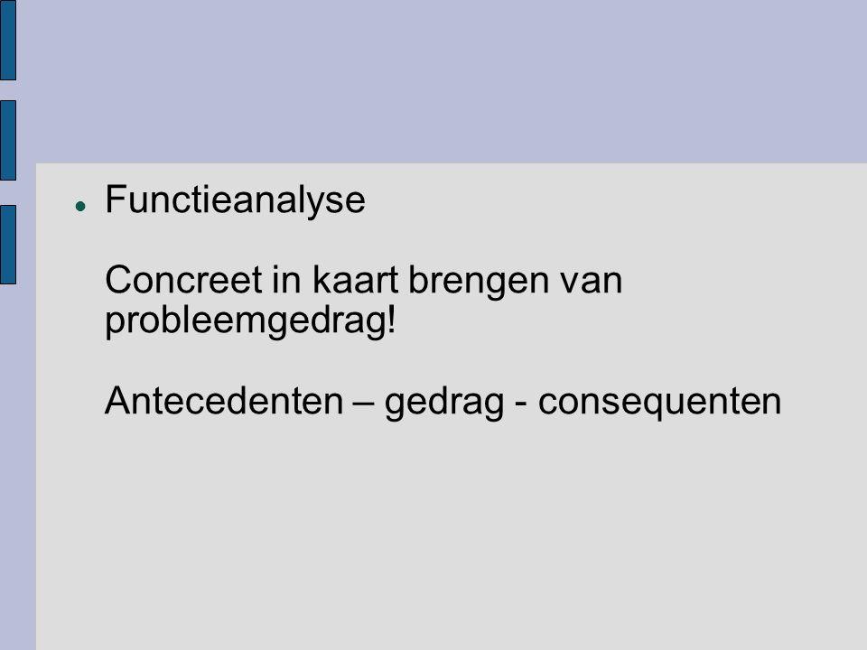 Functieanalyse Concreet in kaart brengen van probleemgedrag