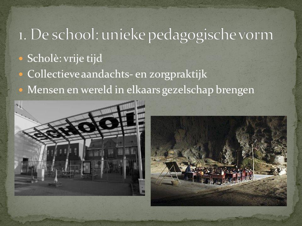 1. De school: unieke pedagogische vorm