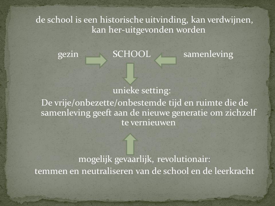 de school is een historische uitvinding, kan verdwijnen, kan her-uitgevonden worden gezin SCHOOL samenleving unieke setting: De vrije/onbezette/onbestemde tijd en ruimte die de samenleving geeft aan de nieuwe generatie om zichzelf te vernieuwen mogelijk gevaarlijk, revolutionair: temmen en neutraliseren van de school en de leerkracht