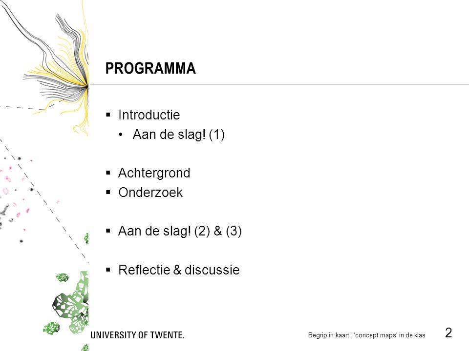 PROGRAMMA Introductie Aan de slag! (1) Achtergrond Onderzoek