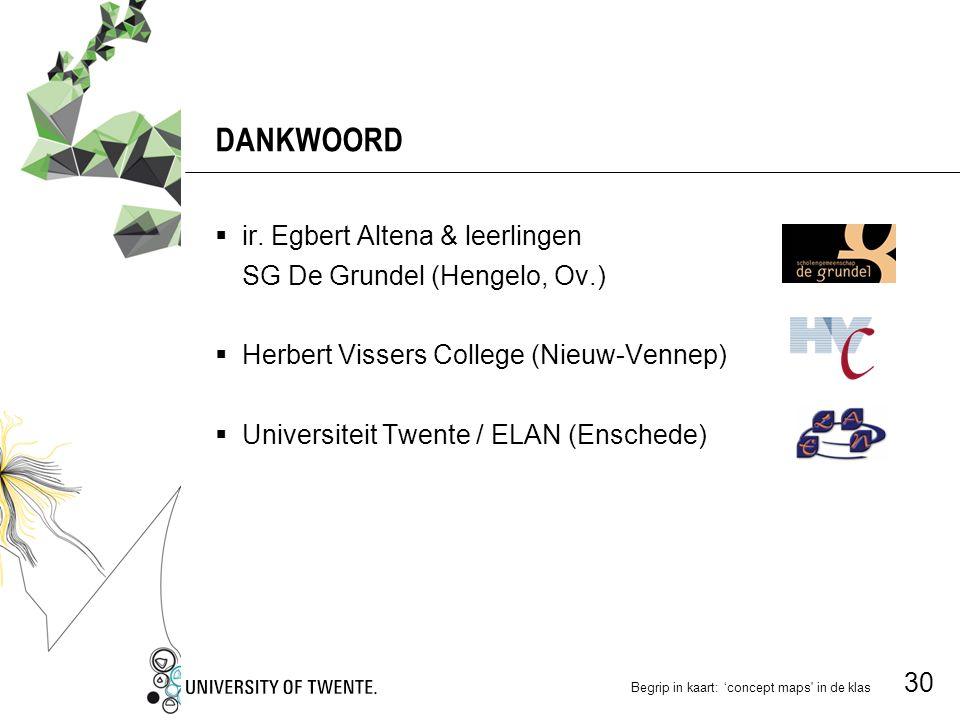 DANKWOORD ir. Egbert Altena & leerlingen SG De Grundel (Hengelo, Ov.)