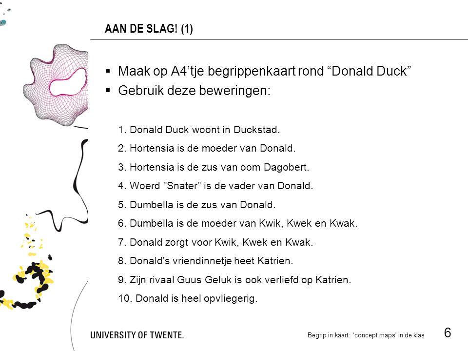 Maak op A4'tje begrippenkaart rond Donald Duck