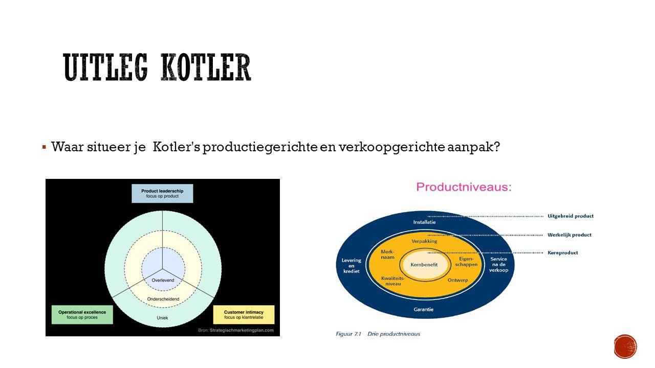 Uitleg kotler Waar situeer je Kotler s productiegerichte en verkoopgerichte aanpak