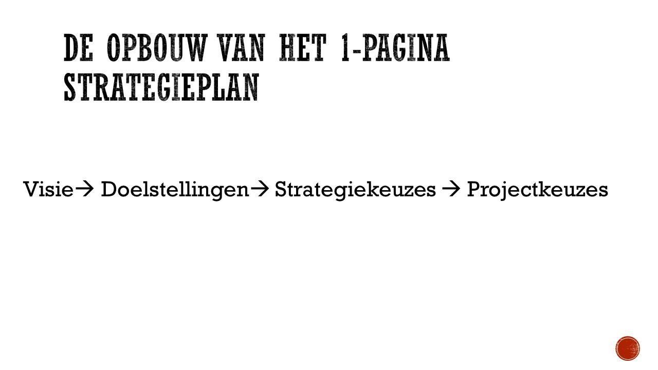 De opbouw van het 1-pagina strategieplan