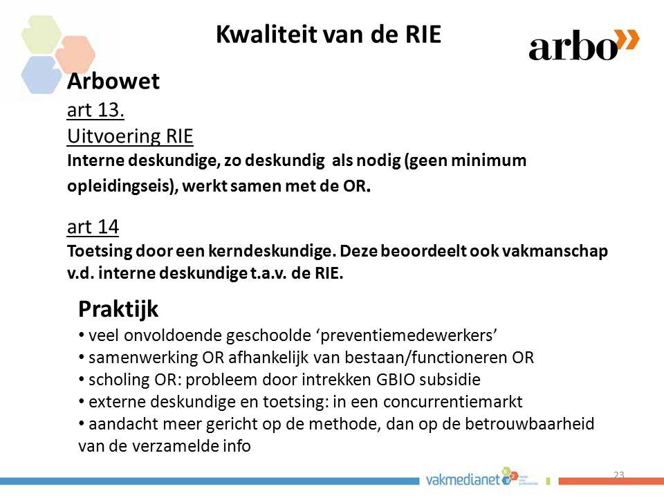 Kwaliteit van de RIE Arbowet Praktijk art 13. Uitvoering RIE art 14