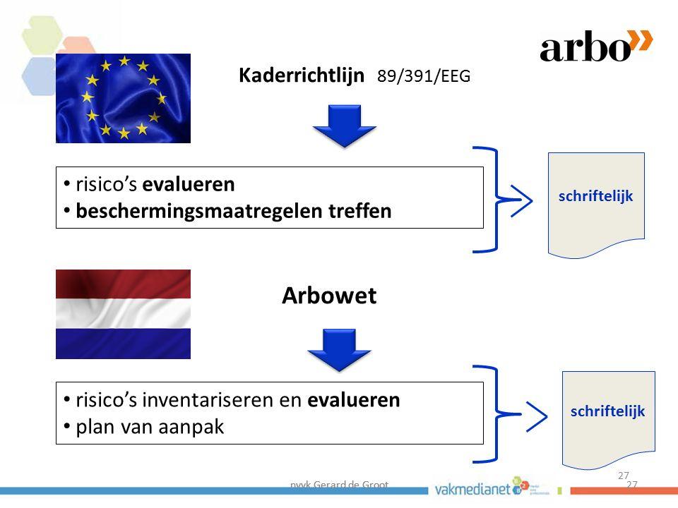 Arbowet Kaderrichtlijn 89/391/EEG risico's evalueren